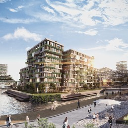 Luxury mixed-use residential development as part of an urban design project at a major port in South Africa. Emphasis is placed on ocean and city views. The façade is animated through moveable privacy and shading screens. The development includes docks for small boats.